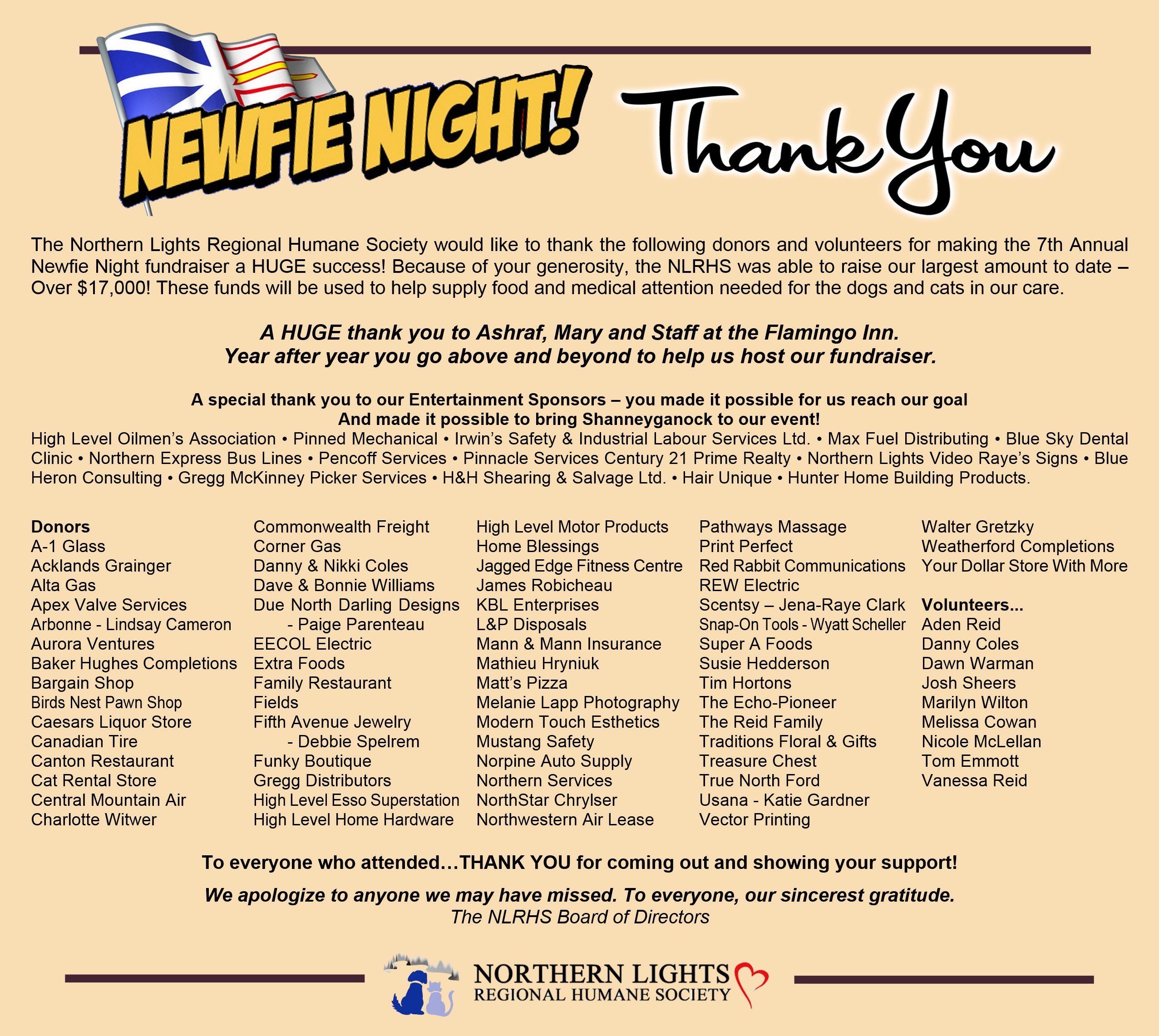 thank you | northern lights regional humane society